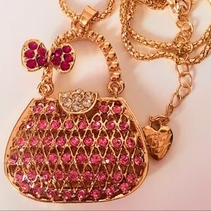 NEW! ADORABLE CRYSTAL PURSE SWEATER NECKLACE